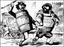 25. Corpi alieni indesiderati: gli immigrati irlandesi e tedeschi rubano le elezioni, 1850. Know Nothing (American) party cartoon accusing Irish and German immigrants of stealing American elections (circa 1850). Credit: Granger, New York City.